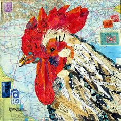 papers recycled to make a chicken