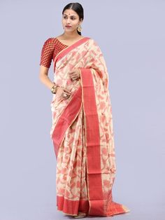 Banarasee Chanderi Saree With Resham Border & Butta - Ivory & Red - Cotton Sarees Handloom, Banarasi Sarees, Pure Silk Sarees, Ethnic Sarees, Saree Collection, Ivory, Sari, Pure Products, Model