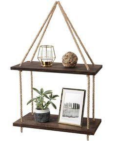 Hanging Bathroom Shelves, Hanging Storage Shelves, Rope Shelves, Window Shelves, Wood Floating Shelves, Plant Shelves, Shelf Wall, Storage Rack, Storage Ideas