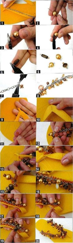 Check out these DIY flip flop projects with beads and embellish your old sandals in a day. Flip flops come in a variety of colors and can match any outfit. Flip Flops Diy, Flip Flop Craft, Flip Flop Shoes, Beaded Sandals, Embellished Sandals, Beaded Bracelet, Decorating Flip Flops, Flipflops, Diy Sac