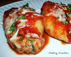 Cooking Creation: Four Cheese, Spinach and Beef Stuffed Shells