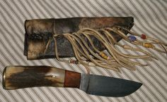 Primitive Mountain Man Damascus Skinner with Caribou by misstudy, $222.00