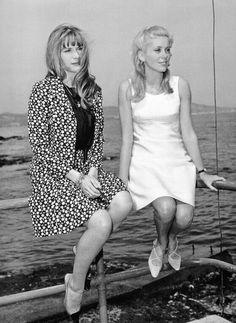 Françoise Dorléac & Catherine Deneuve at Film Festival In Cannes, France On May 24, 1965.