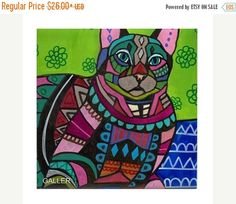50% off- Tabby Cat Folk art Tile Ceramic Coaster Mexican Folk Art Print of painting by Heather Galler