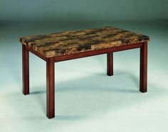 Achillea Transitional Cherry Wood Faux Marble Dining Table