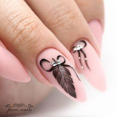 Are you still looking for feather nail art design ideas? I collected 70 beautiful feather nails from the Internet, which can help you with your nail design in Feather Nail Designs, Feather Nail Art, Nail Art Designs, Feather Design, Pink Nail Art, Pink Nails, Cute Nails, Pretty Nails, Hair And Nails