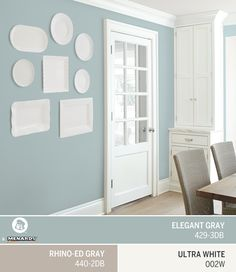 Want to add a unique accent to your dining room? Mounting ceramic plates and serving trays on a wall painted in Dutch Boy's May Color of the Month, Elegant Gray 429-3DB, creates a one-of-a-kind conversation starter that will elevate your home décor.
