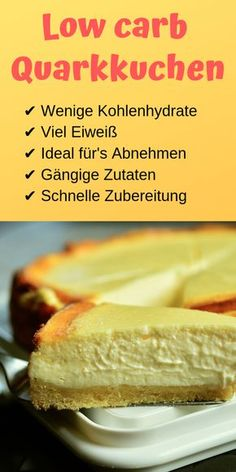 Low carb quark cake - super tasty and low in calories - life .-Low carb Quarkkuchen – super lecker und kalorienarm – Lebensheld You have to try this delicious low carb curd cake! Low Carb Desserts, Healthy Dessert Recipes, Easy Desserts, Gourmet Recipes, Low Carb Recipes, Cake Recipes, Paleo Food, Low Calorie Cake, Protein Recipes