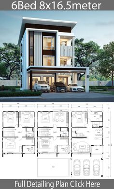 House design plan with 6 bedrooms – Home Design with Plan Haus Design Plan mit 6 Schlafzimmern – Home Design with Plan 2 Storey House Design, Duplex House Plans, Bungalow House Design, House Front Design, Small House Design, Modern House Design, 6 Bedroom House Plans, Sims House Plans, House Layout Plans