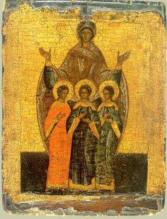 Sainte Sagesse des martyrs avec ses trois filles, Foi, Espérance et Charité. Вера, Novgorod school, XVI° siècle - See more at: http://www.mariedenazareth.com/qui-est-marie/marie-et-les-vertus-theologales-foi-esperance-charite#sthash.ZVUGKJVq.dpuf