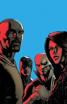 Defenders Written by Brian Michael Bendis Art by David Marquez Cover by David Marquez Four heroes: Daredevil Luke Cage Jessica Jones Iron Fist. These solo heroes will need to come together to battle a new threat from the underworld. Marvel Dc, Marvel Comics, Bd Comics, Netflix Marvel, Mundo Marvel, Captain Marvel, Luke Cage, Comic Book Characters, Marvel Characters