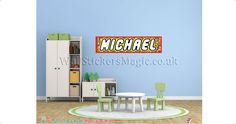 Lego Style1 Name Personalised Fabric Wall Sticker Wall Art Wall Transfers- Repositionable