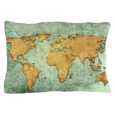 world map-vintage artwork Pillow Case