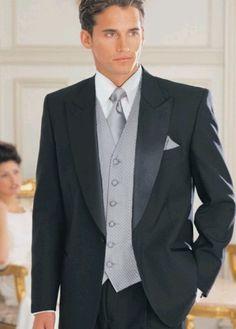 Black suit silver vest