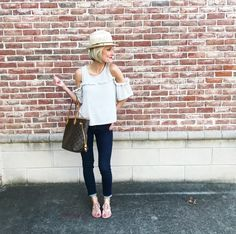 This yucky weather calls for a hat, afternoon coffee & a sale alert! So many great sales going on this weekend that y'all don't want to miss out on. Like these jeans....40% off! And this top....I found an identical one for 40% off too {making it under $20!} \\ My sandals aren't on sale but they were one of the best investments I made last year. I'm wearing the color 'makeup' & sized up a half size! \\ I've got a huge sale round up coming to the blog today so stay tuned to my stories!! \\…