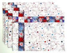 Quilted American Flag Placemats Summer Patriotic Set by QuiltMix