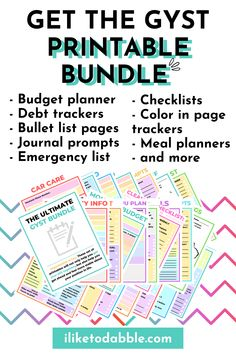 The GYST Printable Bundle includes budget sheets, debt trackers, color in trackers, bullet list pages, journal prompts, and more in 30 pages Ways To Save Money, Money Tips, Money Saving Tips, Make Money Online, How To Make Money, Weekly Menu Planners, Monthly Budget Planner, Debt Tracker, Home Maintenance Checklist