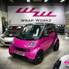 Instagram photo by @wrapworkz #smartcar #pink #vinylwrapped #glosspink