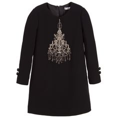 Dolce & Gabbana Girls Black Viscose Crêpe Dress at Childrensalon.com