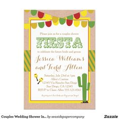 Couples Wedding Shower Invitation Fiesta