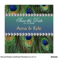 Peacock Pattern and Pearls Variation 2 5.25x5.25 Square Paper Invitation Card