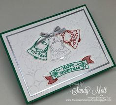 Seasonal Bells and new Glitter Emboss Powders - Stampin' Up!  Created by Sandy Mott