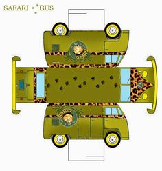 Safari Free Printable Bus. Click on link for freebie. http://eng.ohmyfiesta.com/2014/12/safari-free-printable-bus.html