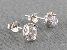 Sterling silver crystal zircon stud earrings, Cz flower stud earrings, Clear Cz crystal jewelry, Small flower crystal stud, Simple studs by PurpleSoulHeart on Etsy