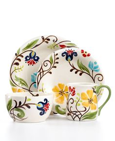 Something i find appealling about this, probably the colors.Vida by Espana Dinnerware, Jardine 4 Piece Place Setting - Casual Dinnerware - Dining & Entertaining - Macy's Painted Plates, Ceramic Plates, Ceramic Pottery, Hand Painted, Painted Pottery, Painted Ceramics, Pottery Painting, Ceramic Painting, Ceramic Art