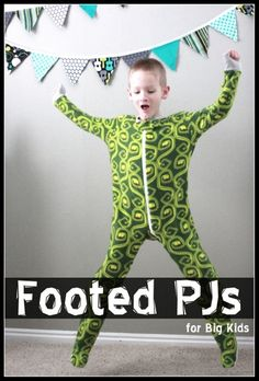 super easy footed pajama pattern for big kids! | VanillaJoy.com
