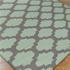 """Ironwork Trellis Dhurrie Rug, 3'6""""x5'6"""", in Gray and Spa Green $169 Shades of Light"""