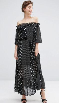 Asos, vestito midi e fasciante, con stampa a pois oversized 39,99 €...