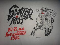 Vintage Scooter Riot 1988 The Meteor Psychobilly T Shirt The