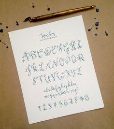 Letterpress Calligraphy Alphabet Print by kmcalligraphy on Etsy, $12.00