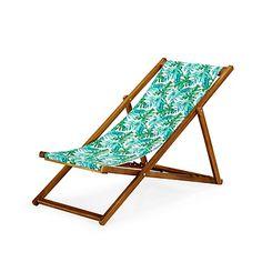 Chilienne / Chaise longue de jardin motifs tropicaux forêt