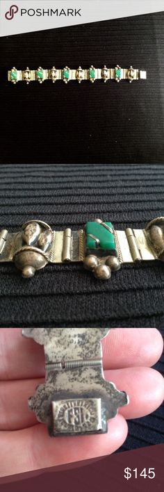 """Vintage Taxco Silver & Green Onyx Bracelet Beautifully handcrafted, repousee and filigree, hinged bracelet with bezels green onyx rectangles. Deco inspired. Made in Mexico 1950's - 1960's. Stamped 925 and maker's initials FSI. Great condition. 7&1/2"""" long x 1"""". Some slightly dented hollow body disc orbs, lots of patina. Elegant, regal ornamentation. I have earrings with similar motif by the same artist listed separately. Taxco Jewelry Bracelets"""