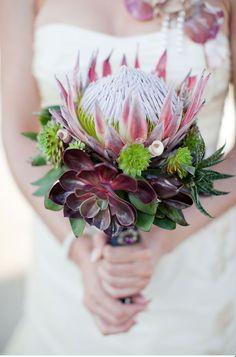 Brautstrauß, Hochzeit, extravagant, Blumen, pink, Sukkulenten