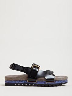 Lanvin Mens Snake Leather Detail Sandals