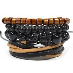 4 Pack Skull and Leather Bracelet Set in Black and Brown Tag Twenty Two http://www.amazon.com/dp/B01CKN8GF0/ref=cm_sw_r_pi_dp_2Un7wb0N7ZMHH