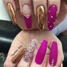 Glam Nails, Hot Nails, Bling Nails, Bling Nail Art, Bling Bling, Best Acrylic Nails, Acrylic Nail Designs, Nail Art Designs, Chrome Nails Designs