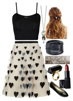 """""""Outfit no.12"""" by amazin-maze on Polyvore featuring Alice + Olivia, WearAll, ABS by Allen Schwartz, NARS Cosmetics, Urban Decay, Monki, white, hearts, black and blackandwhite"""