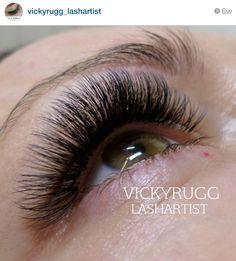 Lash extensions done by @vickyrugg_lashartist (via Instagram), using Sugar Lash Pro products.