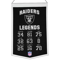 """This 14"""" x 22"""" beautifully embroidered banner commemorates great Oakland Raiders players from the past and present. A nostalgic look back at some of the most iconic players in the game."""