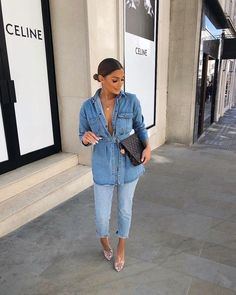 outfit for date casual Black Girl Fashion, Denim Fashion, Look Fashion, Fashion Outfits, Classy Outfits, Stylish Outfits, Outfits Con Camisa, Looks Jeans, Double Denim