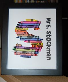 Crayon monogram teacher gift. Got one of these for Christmas and I love it!!!!