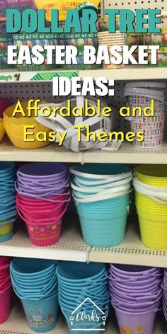 These Dollar Tree Easter Basket Ideas are so cute! Lots of fun ideas and themes using Dollar Tree items. Basket Ideas Dollar Tree Easter Basket Stuffers for All Ages - Clarks Condensed Cheap Easter Baskets, Boys Easter Basket, Unique Easter Basket Ideas, Easter Bunny, Summer Gift Baskets, Holiday Baskets, Hoppy Easter, Dollar Tree Baskets, Dollar Tree Crafts