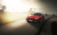 Lataa kuva Mercedes-AMG GTS, 2017, Urheilu coupe, roadster, punainen Mercedes
