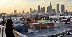 The view of Downtown Los Angeles from the Sixth Street Bridge.