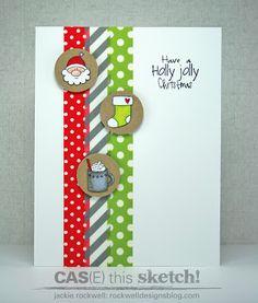 Time Christmas Decor Push N Pop Charlie Brown - 8 CAS Washi Tape Christmas card. Love the Santa! Love the Santa! Christmas Card Crafts, Christmas Cards To Make, Christmas Greeting Cards, Greeting Cards Handmade, Handmade Christmas, Holiday Cards, Christmas Decor, Winter Karten, Washi Tape Cards