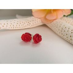 Coral studs, Carved coral rose bud earrings, 35th Wedding Anniversary... (€17) ❤ liked on Polyvore featuring jewelry, earrings, flower earrings, red coral jewelry, bamboo earrings, sterling silver earrings and sterling silver stud earrings